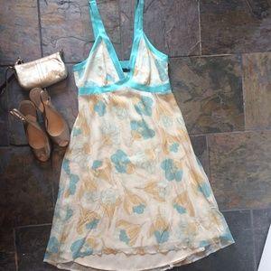 Arden B Silk Floral Print Baby Doll Dress